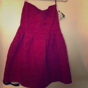Strapless deep red dress